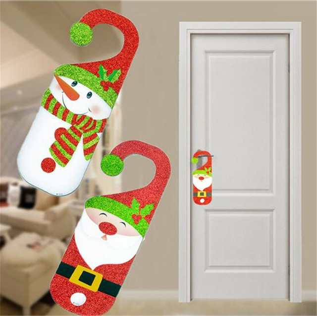 Hot Sale Christmas Decorations For Home Cartoon Santa Snowman Paper Door  Handle Ornaments New Year Xmas