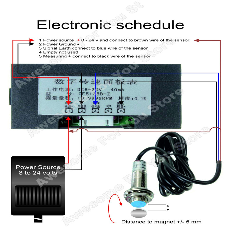 NPN Hall Proximity Switch Sensor 4 Digital Blue LED Tachometer RPM Speed Meter