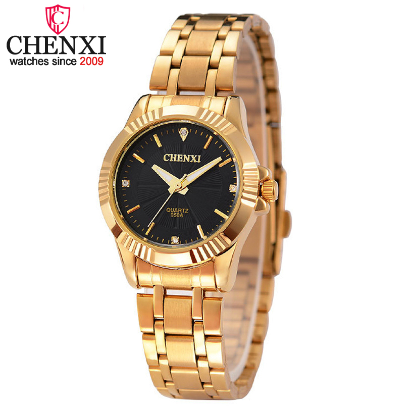 CHENXI Women Fashion Rhinestones Design Ladies Quartz Watch Stainless Steel Womens Wristwatch Luxury Clock Female Golden Watches