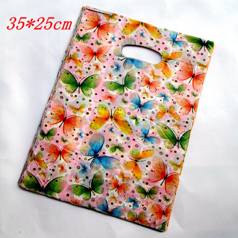 """100pcs/lot Multicolored\""""Butterfly\"""" Plastic Boutique Back gift Pouches <font><b>Shopping</b></font> Gift Package <font><b>Bag</b></font> 25*35cm153513"""