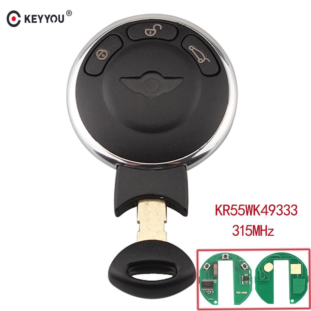 KEYYOU 315MHZ For BMW Mini Cooper Smart KR55WK49333 3 Buttons Remote Control Car Key Fob Case Keyless Entry Key Fob