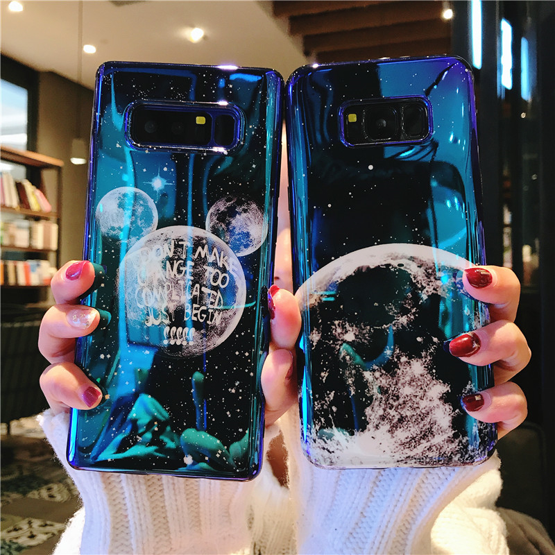 Mitch Star Blue Light Glitter Glossy Phone Case For Samsung S7 Edge Vintage Moon Phone Cover For Samsung S7 Edge