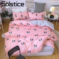 Solstice Home Textile Duvet Comforter Cover Pillowcase Flat Sheet Girl Teen Woman Bedding Set Bull Dog Pink Bed Linen Bedclothes