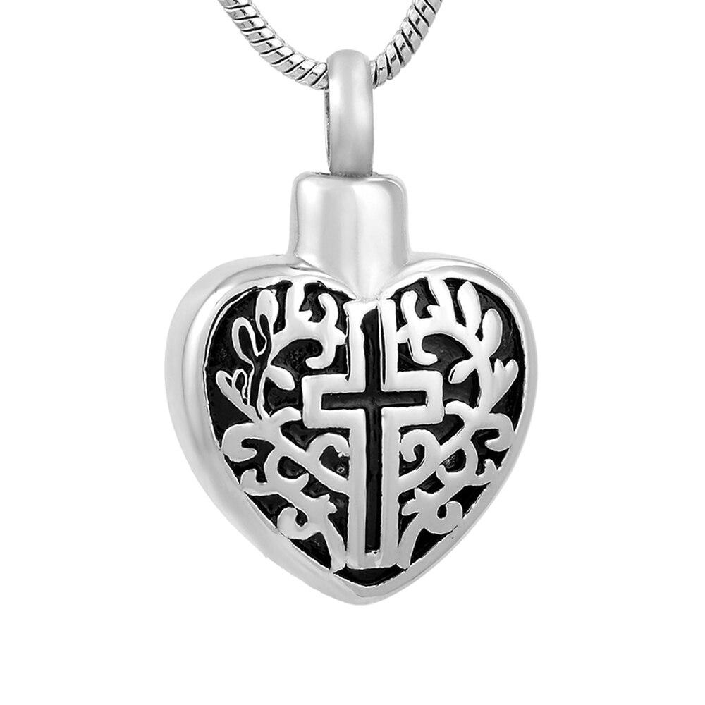 MJD9765 Acier Inoxydable Croix Coeur Mémorial Des Urnes pour L'amour Les Cendres de Crémation Bijoux avec 20 Pouce Chaîne