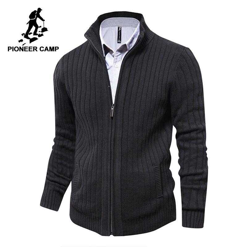 Pioneer Camp hommes chandails tricotés cardigan à fermeture éclair mâle Top qualité célèbre marque vêtements de noël chandail