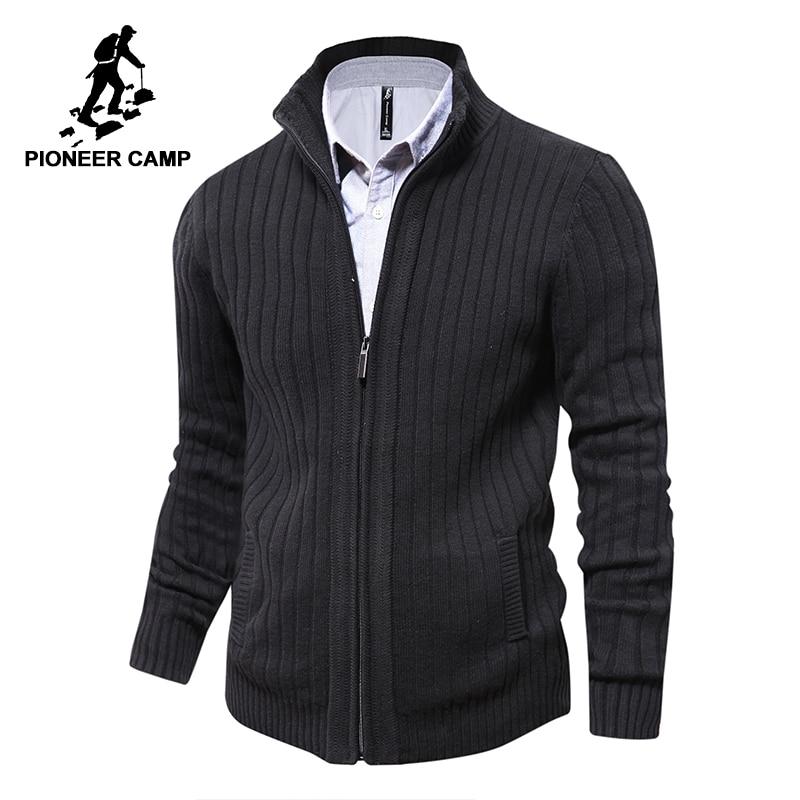חלוץ מחנה גברים סוודרים סרוגה רוכסן קרדיגן זכר איכות גבוהה המותג המפורסם בגדים סוודר חג המולד
