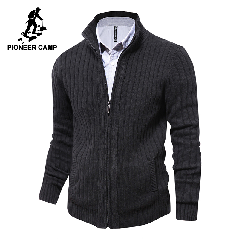 Pioneer Camp homens camisolas de malha zipper cardigan masculino Top qualidade famosa marca de roupas de natal camisola