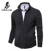Pioneer camp homens blusas de malha com zíper cardigan masculino qualidade superior famosa marca roupas camisola natal