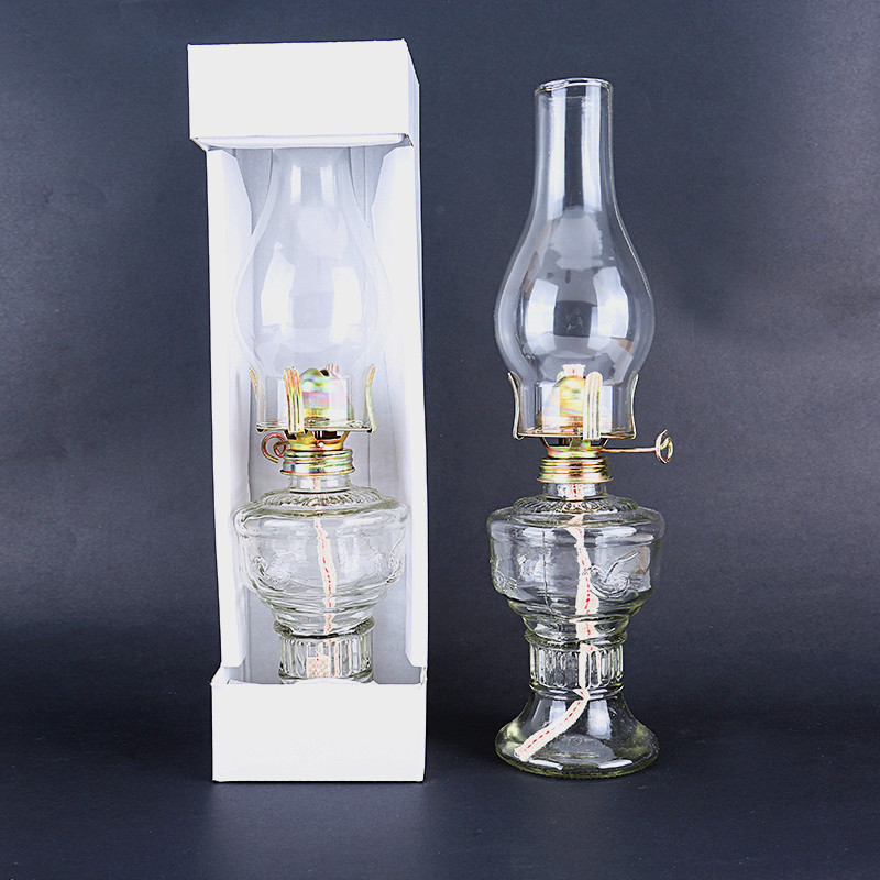 Advance Booking 32cm Glass Kerosene Lanterns Oil Lamp Glass Classic Retro Family Decorative Lights High Capacity High Quality