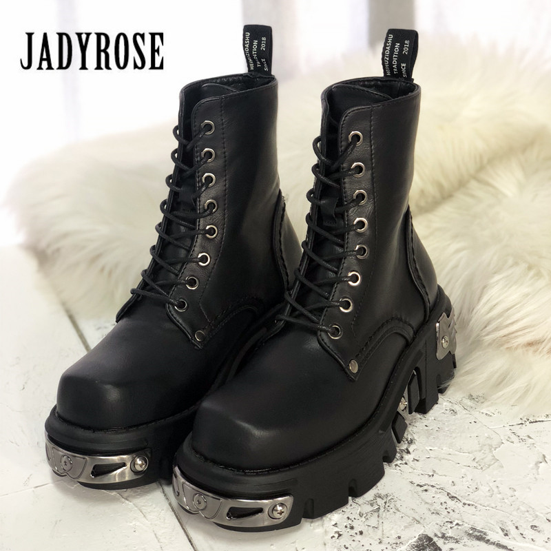 Jady Rose Punk Style Women Ankle Boots Black 6CM Platform Boot Riding Boots High Tops Military
