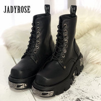 Jady Rose Punk Style Women Ankle Boots Black 6CM Platform Boot Riding Boots High Tops Military Boots Metal Decor Botas Mujer
