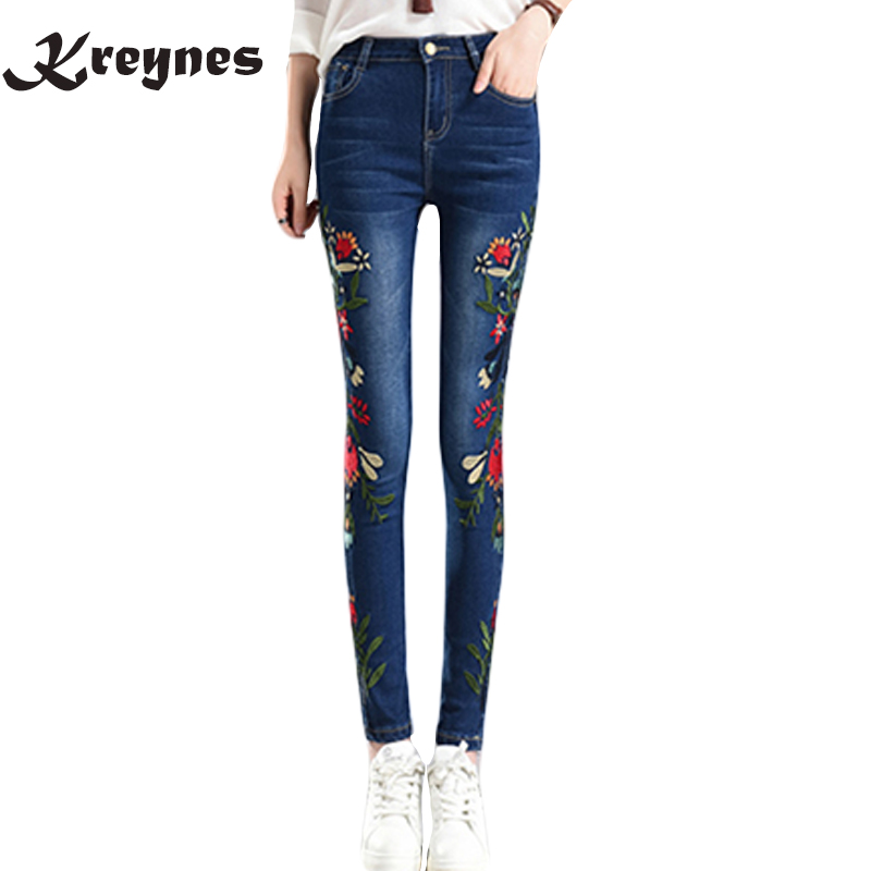 Hot sale Stretch Embroidered Jeans For Women Elastic Flower Jeans Female Pencil Denim Pants Rose Pattern Pantalon Femme hot sale butterfly and flower pattern feather pendant loose cloak coat poncho cape for women