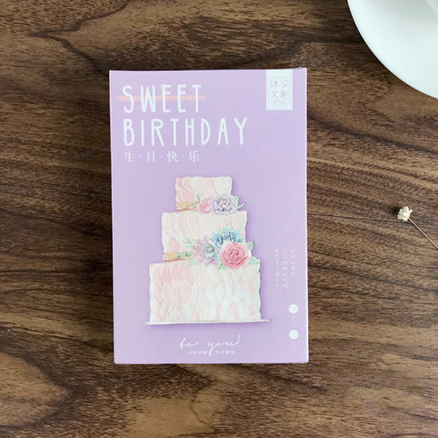 30 Pcs Pack Cute Sweet Happy Birthday Greeting Card Postcards Bussiness Gift Set Message