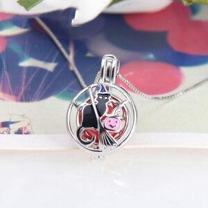 Image 4 - CLUCI 3 sztuk srebra 925 Halloween wisiorek czarny czarownica kot kształt zaokrąglony Charms wisiorek kobiety 925 Sterling Silver biżuteria SC314SB