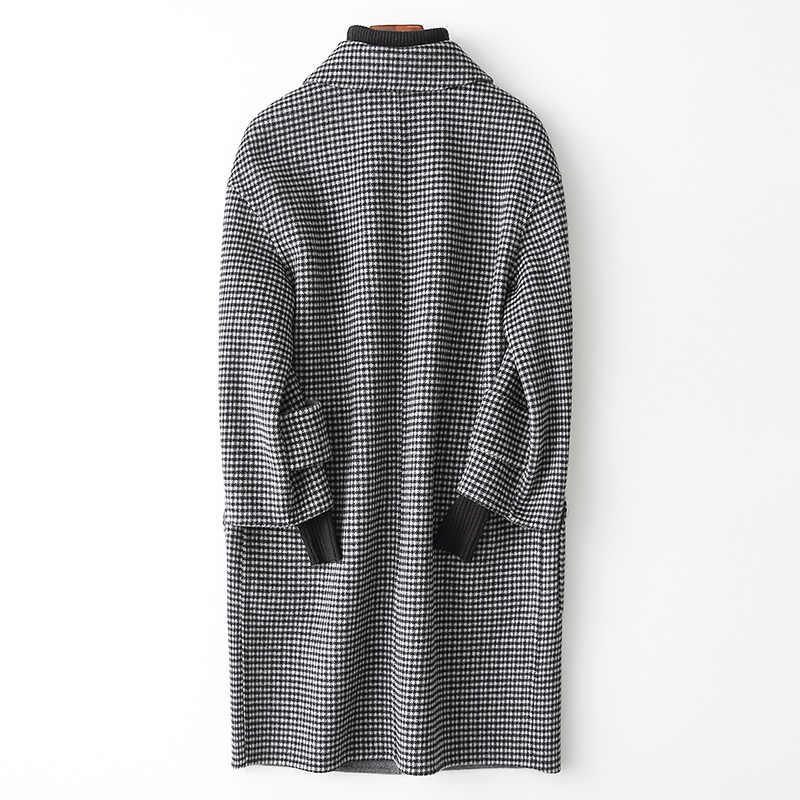 AYUNSUE 2019 Новое двухстороннее шерстяное пальто для женщин весна осень шерстяное пальто для женщин шерстяная куртка в клетку 38005 WYQ1778
