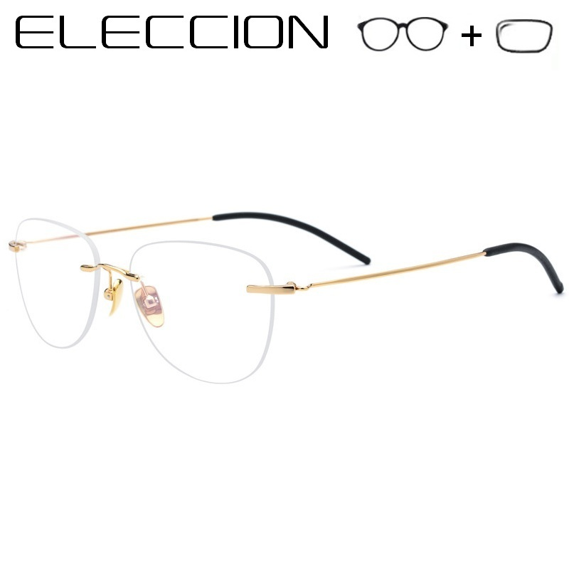ELECCION Pure titanium Rimless Eyeglass Myopia Prescription Glasses Optical Eyewear Men s Eyeglasses Women Eyewear Korean