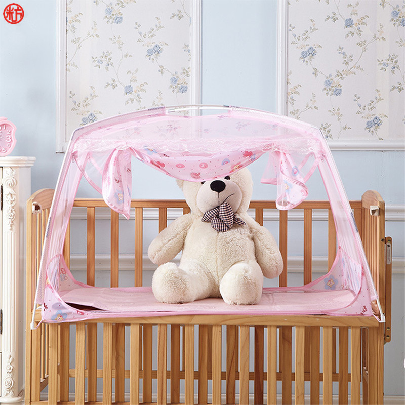Home textile pink mosquito net for children kids baby infant bed net mongolian yurt mesh netting folding purple cute insect net