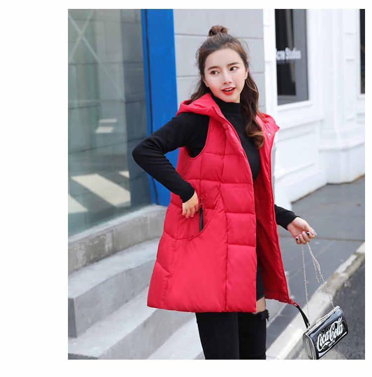 Модный простой и удобный практический хлопковый жилет осень-зима толстый кардиган с капюшоном Женский пуховик