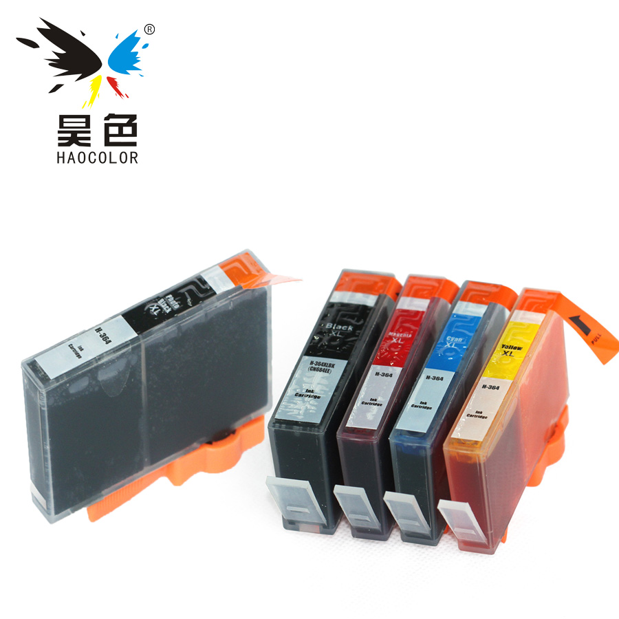 HAOCOLOR 5 pack HP364 XL HP364XL ink cartridge with chip for <font><b>HP</b></font> <font><b>364XL</b></font> For <font><b>hp</b></font> Deskjet 3070A 3520 3522 3524 printer image