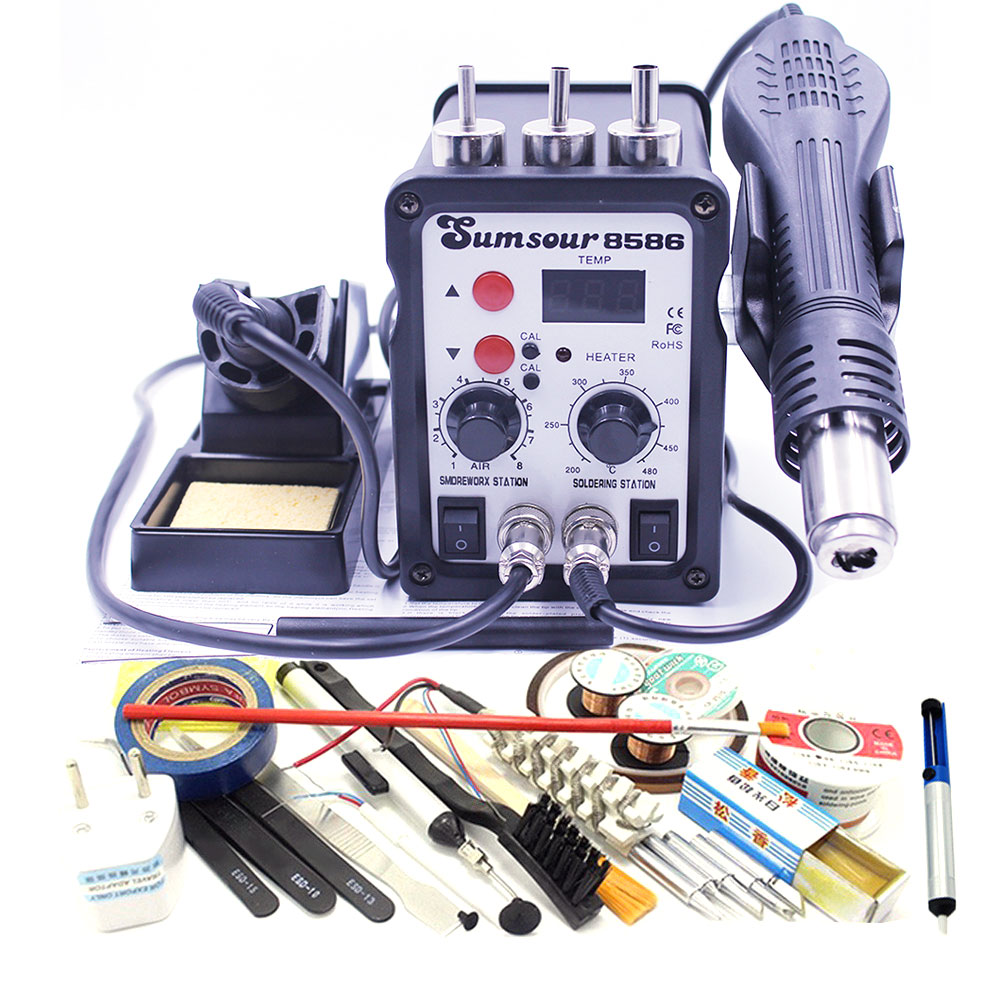8586 220V 110V Thermostatic Electric Soldering Iron 2 In 1 Solder Station Hot Air Gun With Iron Tip Solder Wire Tweezers Heater-in Heat Guns from Tools    1