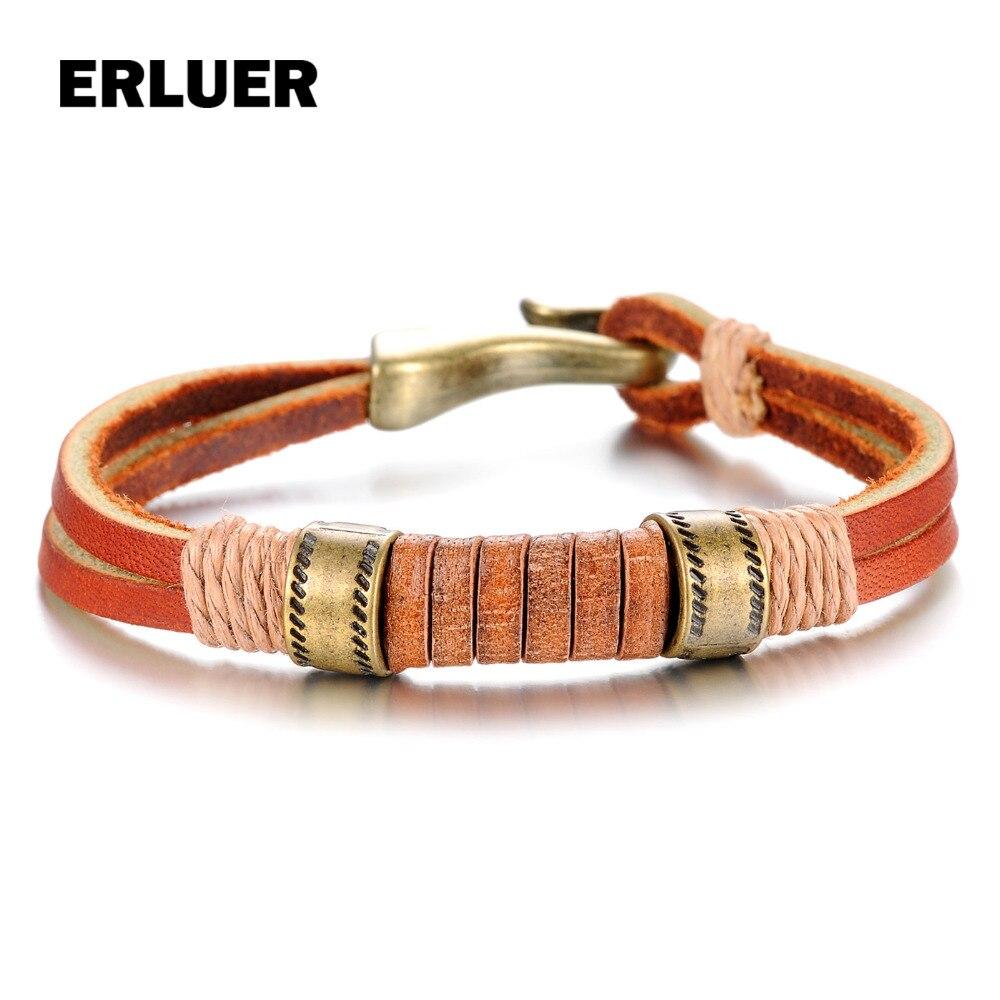 ERLUER Unisex Men Bracelets Genuine Leather Bracelet Wristband European Punk Style Fashion Jewlery Bracelets & Bangles For Women