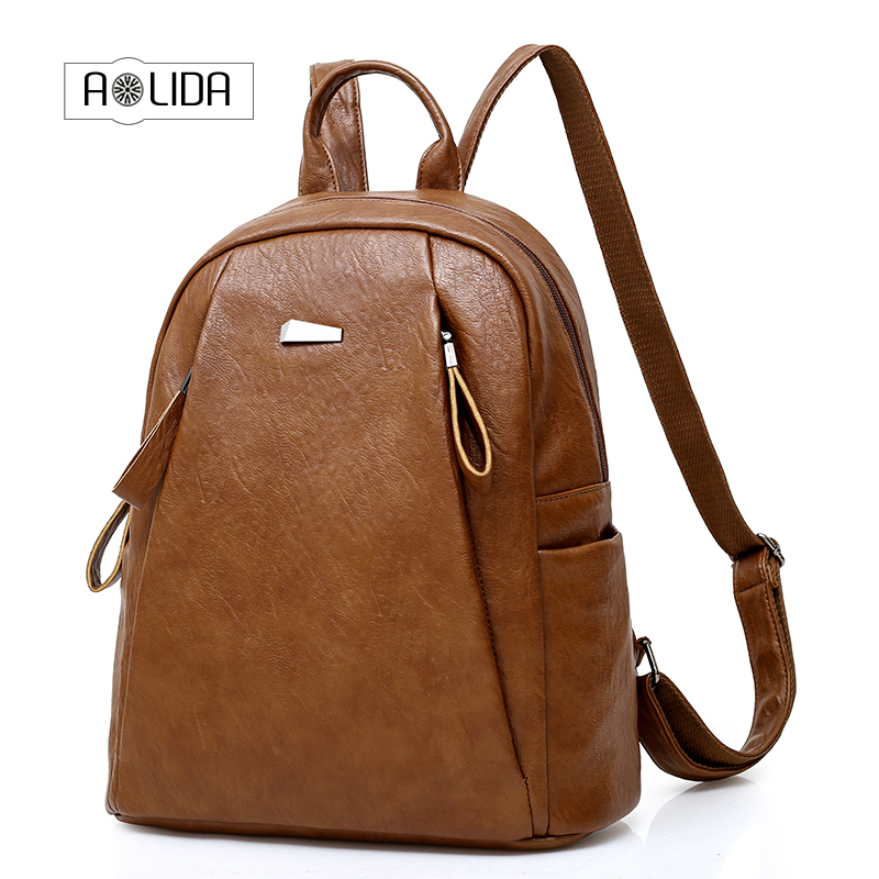 Women Zipper pocket Backpack High Quality PU Leather Backpacks for Teenage Girls Female School Shoulder Bag Bagpack mochila