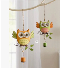 Free shipping Home Garden decoration ornament gardening store children s room decor metal owl wind chimes