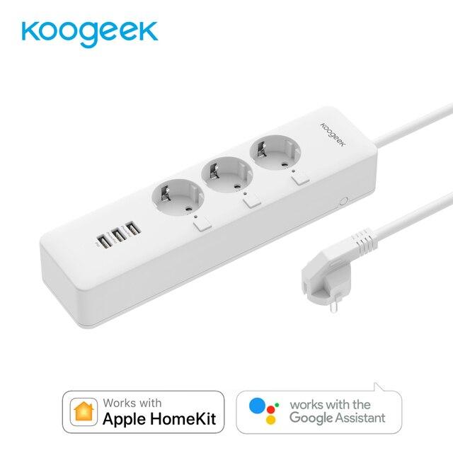 Koogeek inteligentnego domu listwa zasilająca gniazdo elektryczne Wifi bezprzewodowy pilot zdalnego sterowania 4 USB 3 gniazdko wtyczki dla Apple Homekit Alexa Google