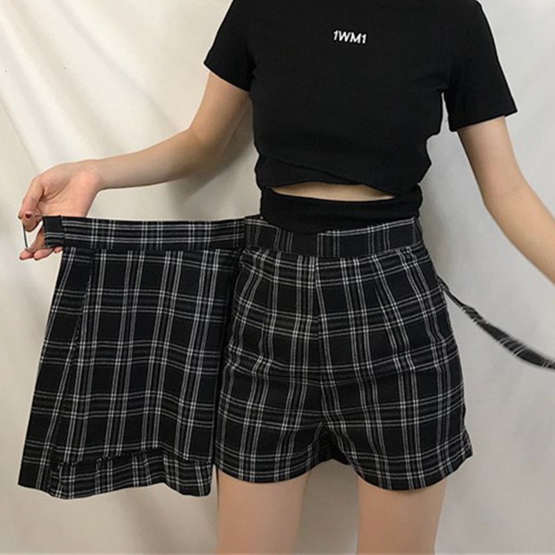 ELEXS A-Line Skirt Shorts Plaid High-Waist Fashion Casual Women Student Kawaii E2119