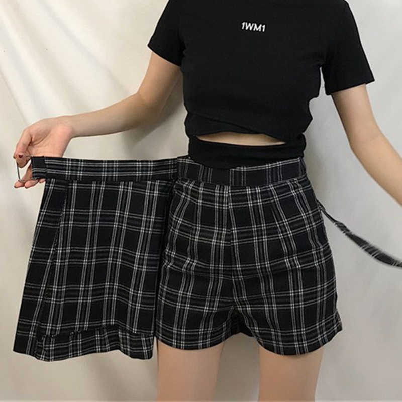 ELEXS Summer Skirt Women High Waist Plaid A-Line Skirt Casual Fashion Kawaii Student Skirts Shorts E2119