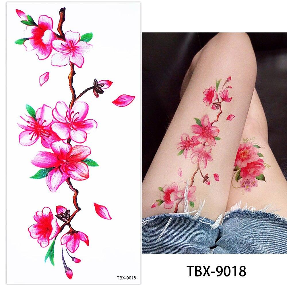 0 59 Glaryyears 1 Feuille De Couleur Dessin Fleur Corps Tatouage Vitalité Temporaire Imperméable Rose Pivoine Tatouage Autocollant Pour Les Femmes