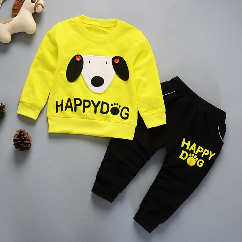 Kids Winter Clothes Happy Dog Print T-shirt Set Comfortable Warm Boys Children Clothing Girl Winter Clothes For Kids fashion baby girl t shirt set cotton heart print shirt hole denim cropped trousers casual polka dot children clothing set