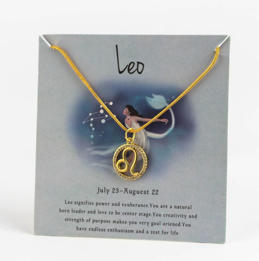 Ожерелье с подвеской в виде животных 12 созвездий для женщин, чокер для пар, массивная цепочка, ожерелье золотого цвета, Знак зодиака с коробкой для карт - Окраска металла: 3