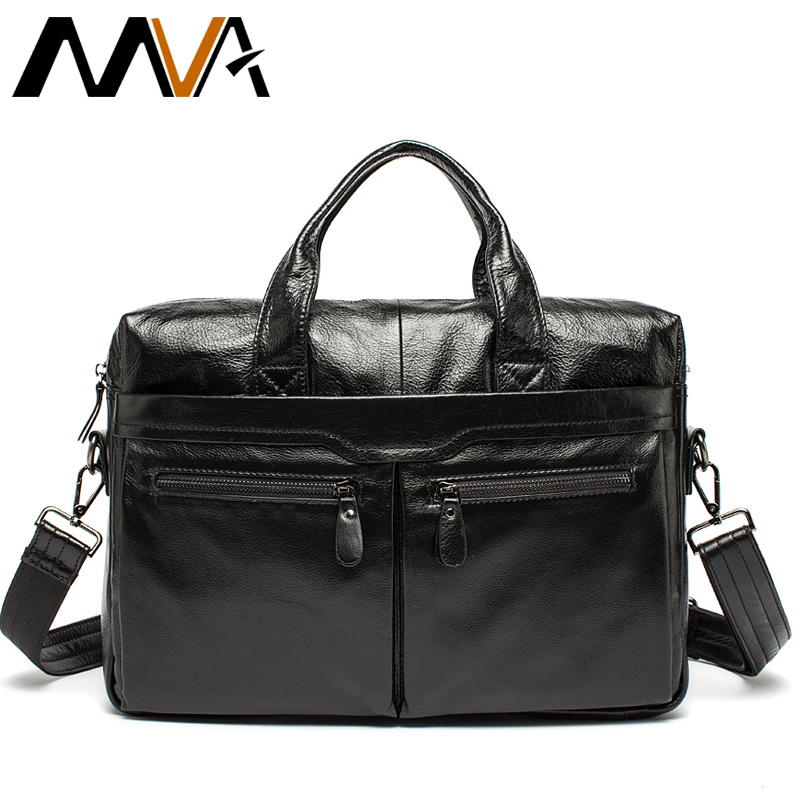 MVA Leather Laptop Bag Men Messenger Bags Genuine Leather Bag Men's Briefcases Handbag Totes Men Shoulder Crossbody Bags mva genuine leather men bag business briefcase messenger handbags men crossbody bags men s travel laptop bag shoulder tote bags