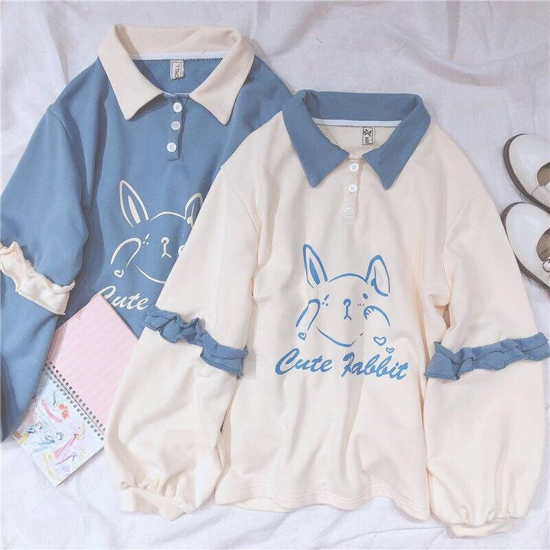 Soft Girls Cute Rabbit Female Hoodies Japanese Kawaii Bunny Graphic Vintage Women Sweatshirt Kpop Long Sleeve Ruffle Clothes