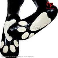 Sexy Breve pianura calze in lattice Gatto Caviglia in bianco e Nero incollato calzini Cane di gomma Gummi tubo legwear piede Lattice calza più il formato