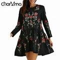 Charmma nueva primavera otoño bordado floral de la vendimia marca de moda femme casual dress mujer de manga larga floja negro mini vestido
