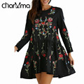 charMma Spring new Autumn Vintage Floral Embroidered Fashion Brand Femme Casual Dress Women Long Sleeve Loose Black Mini Vestido