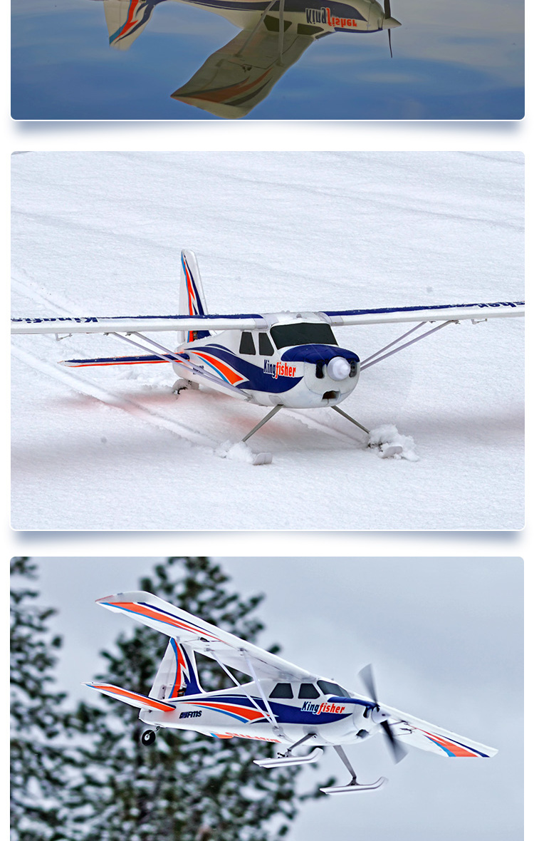 US $219 99 |FMS RC Airplane 1400mm Kingfisher Trainer Beginner Water Plane  3S 5CH With Flaps Floats Skis PNP Model Plane Aircraft Avion New-in RC
