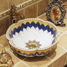Китай Керамика живопись Книги по искусству Lavabo коммерческих раковины столешница умывальник чаша фарфоровой раковина