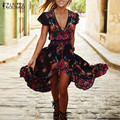 Boho Fashioin Women Dress 2016 Summer Ladies Sexy V-neck Floral Print Maxi Long Dresses Split Casual Vintage Vestidos Plus Size