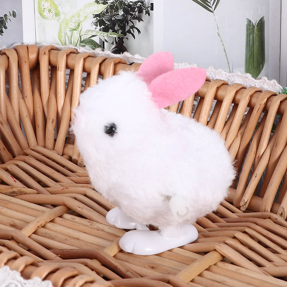 1 Pc Plastic Plush Small Cartoon Jumping Rabbit Children's Chain Clockwork Wind Up Mechanical Toys For Kids Funny Games