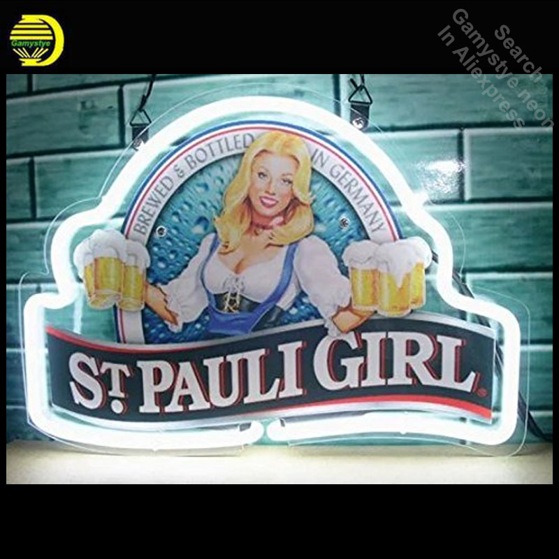 Neon Sign for Stpauli Girl Bar Pub Neon Bulb sign handcraft Signboard Paint mage Real Glass tube Dropshipping neon bar lights neon sign open live nudes sexy girl neon light sign decorate real glass tube neon bulb arcade neon sign glass store display17x14