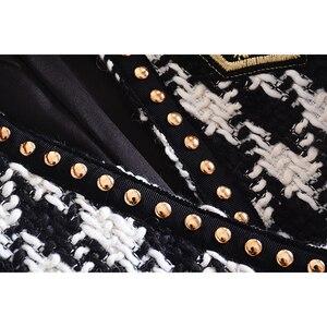 Image 5 - Yüksek sokak yeni moda 2020 tasarımcı ceket kadın tek düğme perçin ekose tüvit yün ceket ceket