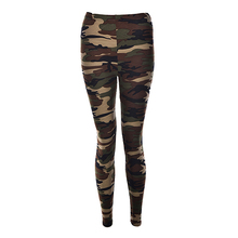 Fashionable Women Camouflage Army Green Stretch Leggings Pan