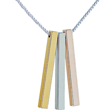 Cubic Column Custom Carving Pendant Necklace Stainless Steel Three Cuboid Combination Fashion Pop Couple Women