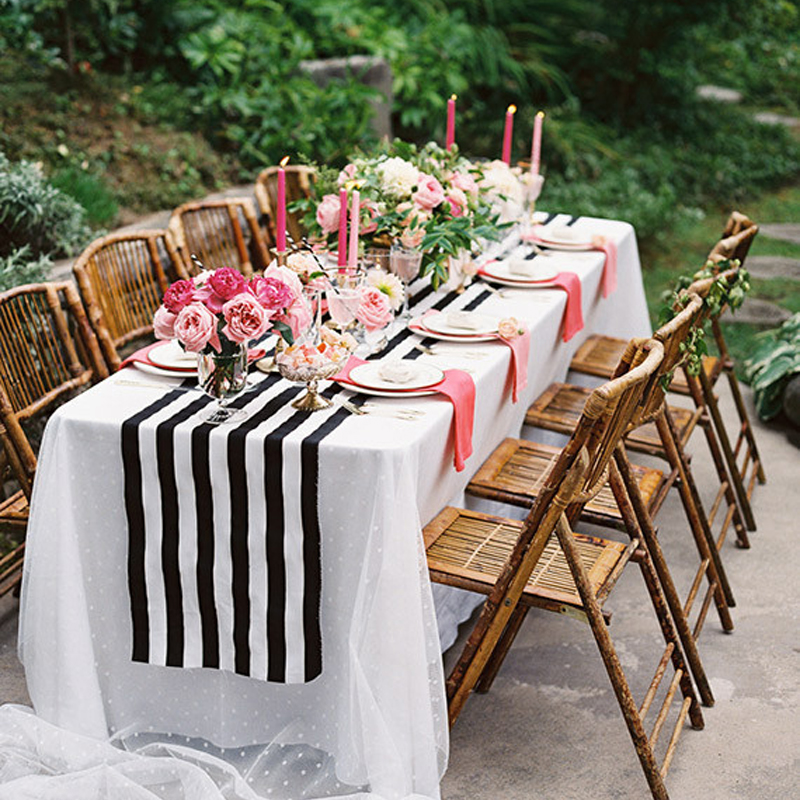 11 X 98 Black White Striped Table Runner For Wedding Table Decor