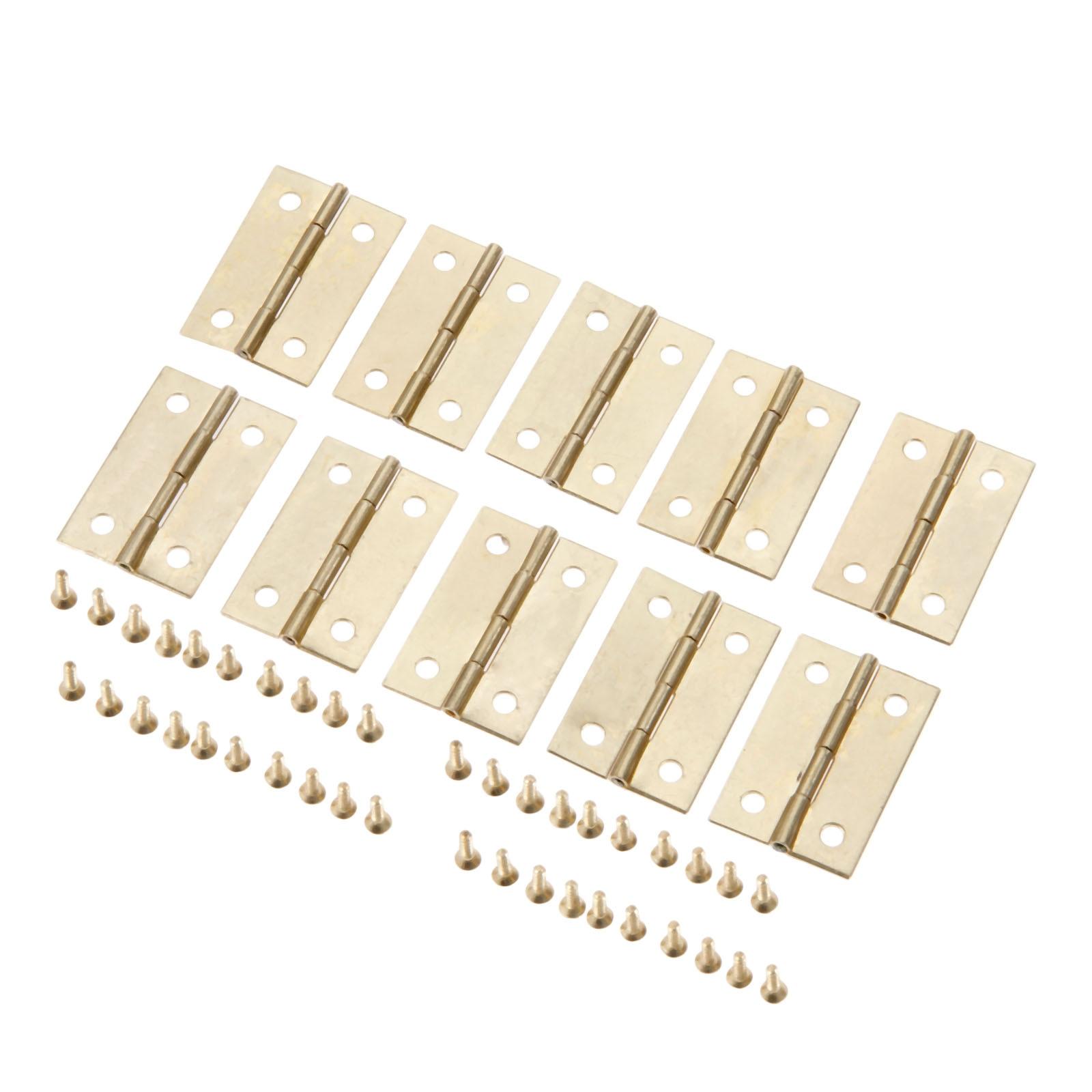 10Pcs 35x22mm Gold Furniture Cabinet Hinge Drawer Door Small Hinge 4 Hole Jewelry Wood Box Decorative Hinge Furniture Hardware in Cabinet Hinges from Home Improvement