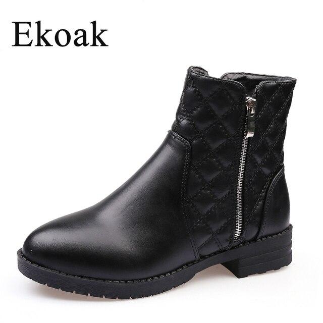 Ekoak/Новинка Мода 2016 года Женские ботинки зима-осень классические Ботильоны на молнии Теплый плюш кожаные ботинки Martin женская обувь