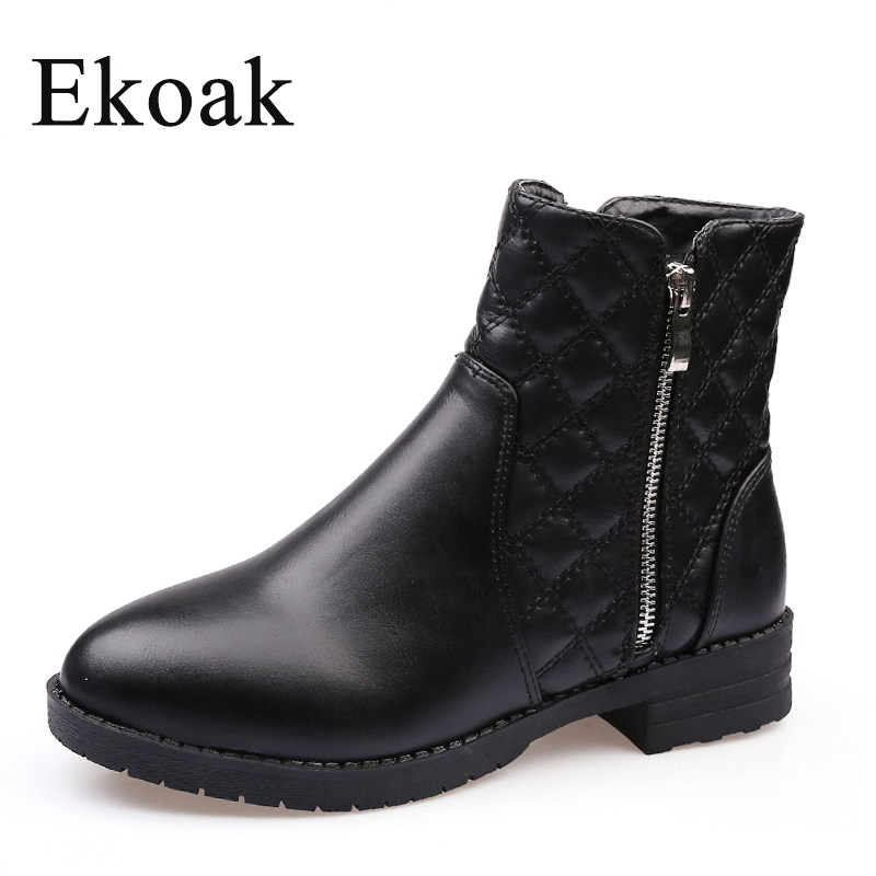 Ekoak New 2017 Fashion Autumn Winter Boots Women Classic Zip Ankle Boots Warm Plush Leather Martin Boots Women Shoes autumn and winter new leather shoes with leather boots and boots with flat boots british classic classic hot wild casual shoes